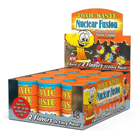 12 x Orange Nuclear Fusion Toxic Waste Candy Barrel Drum - Sour Sweets 42g Wholesale Bulk Buy